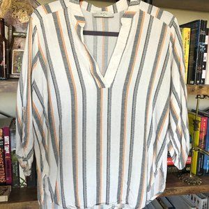 Nordstrom, striped linen 3/4 length blouse